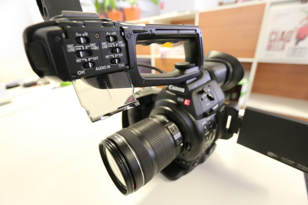 c100 camera on a table